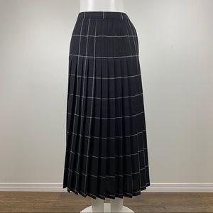 Vintage Plaid Accordion Pleat Midi Skirt